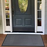 Aucuda Commercial Door Mat Entry Rug Entry Floor Mats Outdoor,3x5 Feet,Grey