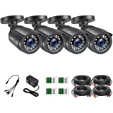 ZOSI 1080P 4 Pack Home Security Bullet Cameras Outdoor Weatherproof with 24pcs IR LEDs 80ft Night Vision for HD-TVI AHD CVI A