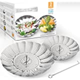 Two-Pack (Large and Standard) Vegetable Steamer Basket Set - Steamer Inserts for Instant Pot + Safety Tool - 100% Stainless S