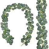 AGEOMET Artificial Eucalyptus Garland 2 Pack 11.8 feet Long Faux Silk Greenery Leaves Garland Fake Leaves Vines Holiday Weddi