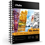 """Mix Media Pad, Ohuhu 10""""脳7.6"""" Mixed Media Art Sketchbook, 120 LB/200 GSM Heavyweight Papers 62 Sheets/124 Pages, Spiral Bound"""