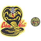 """2 Pack Karate Kid Cobra Kai Embroidered,Iron on Patch Sew on Emblem,Cosplay Jacket Patch,2.9"""" & 8.6"""""""