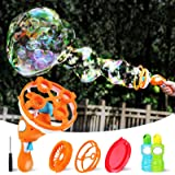 iBaseToy Bubble Machine Gun with 3 Bubble Wands - New Upgrade Giant & Small Bubble Maker for Kids Toddlers, Dip & Press Bubbl