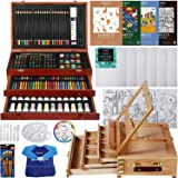 MEEDEN Deluxe Art Creativity Set with 3 Drawing Pads,1 Wooden Drawing Easel with Drawer, Art Supplies, Painting & Drawing Set