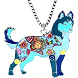 Marte&Joven Siberian Husky Necklace for Women Personalized Dog Pendants and Charms Enamel Gifts Jewelry