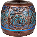 Metal Diffusers for Essential Oils, 500ml Large Aromatherapy Diffuser Red Bronze, Changing Light & Whisper-quiet, Best Gift I