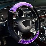 KAFEEK Microfiber Plush Steering Wheel Cover for Winter Warm, Universal 15 inch,Black Purple
