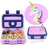 Elleuality Kids Designs - Unicorn 4 compartment bento lunch box, durable, leak proof design, BPA Free - Food Safe, Freezer -