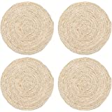 Esmlfe 6PCS Natural Corn Husk Placemat Round Braided Tablemat for Dining, Kitchen and Reataurant