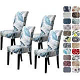 Howhic Chair Covers for Dining Room with Printed Patterns, Easy Slip-on Stretchy Dining Room Chair Covers Set of 4, Washable