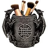 DWK 6.4-inch Literary Beasts Twin Double Dragon Celtic Knot Pattern Gothic Pen Pencil Desk Organizer Makeup Brush Holder Art