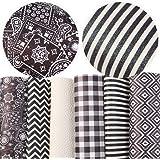 "David Angie Geometric Pattern Printed Glitter Faux Leather Sheet Assorted 6 Pcs 8"" x 13"" (20 cm x 34 cm) Black White Stripe S"