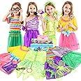 Teuevayl Little Girl Dress up Trunk Set, 20PCS Girls Pretend Play Princess Role Play Costumes Set, Singer, Princess, Fairy Co