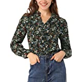 Allegra K Women's Chiffon Floral Loose Tops V Neck Long Sleeve Button-Up Blouse