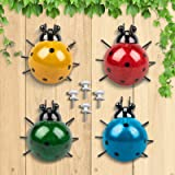 GORNORVA 4PCS Metal Insect Wall Decor,Cute Metal Ladybugs Outdoor Wall Sculptures Outdoor Decor Wall Metal Ladybugs Art for O