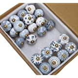Antique Drawer Knobs and Pulls - Pack of 25 Pcs - Hand Painted Boho Furniture Home Decor Hardware Ceramic Pulls