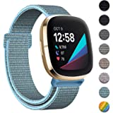 HAPAW Nylon Bands Compatible with Fitbit Sense/Versa 3, Soft Adjustable Breathable Sport Replacement Strap Women Man Wristban