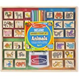 Melissa & Doug 2394 Deluxe Wooden Stamp Set: Animals- 30 Stamps, 6 Markers, 2 Stamp Pads