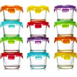 Glass Baby Food Storage Containers with Lids | Set of 12 | 4 oz Glass Food Containers | Freezer Storage | Reusable Small Glas