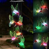 Topspeeder LED Solar Hummingbird Wind Chime, Changing Color Waterproof Six Hummingbird Wind Chimes for Home Party Night Garde