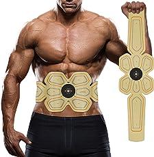 腹筋ベルト EMS 腰部 腹筋トレーニング 多機能 マシーンフィットネスベルト ダイエット器具 超薄 男女兼用 健康機械 USB充電式 WAITIEE (ブラック)