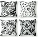 Phantoscope Set of 4 New Living Series Dahlia and Oriental Print Decorative Throw Pillow Case Cushion Cover, Grey and White,