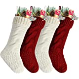 (Pack 4, Length 46cm, Width 15cm, Red and White) - Pack 4, 46cm Unique Burgundy and Ivory White Knit Christmas Stockings