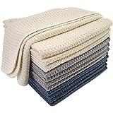 Polyte Premium Microfiber Kitchen Dish Cloth Waffle Weave (Dark Blue, Gray, Off White, 31x31 cm) 12 Pack