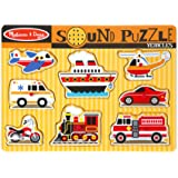 Melissa & Doug 725 Vehicles Sound Puzzle - Wooden Peg Puzzle With Sound Effects (8 pcs)