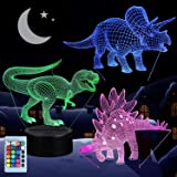 3D Dinosaur Night Light, VSATEN 3D Illusion Lamp Three Pattern and 7 Color Change Decor Lamp with Remote Control for Living B