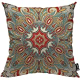 Mugod Paisley Flower Throw Pillow Cover Traditional Ornamental Floral Paisley Bandanna Ethnic Decorative Pillow Cases Square
