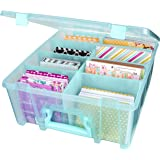 ArtBin 6990AA Super Satchel Double Deep, Portable Art & Craft Organizer with Handle, [1] Plastic Storage Case, Aqua Mist