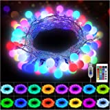 KNONEW 100 LED Globe String Lights 33ft 16 Colors Changing Lights with Remote, USB Powered Fairy Light Indoor Outdoor Decorat