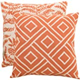 SUNSHINE FASHION Pack of 2 Modern Farmhouse Throw Pillow Covers Decorative Textured Square Accent Cushion Covers Set for Sofa