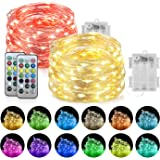 Homemory 2 Pack LED Fairy Lights, 20ft 60LEDs Battery Powered Multicolor Changing String Lights with Remote Waterproof Silver
