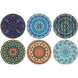 CARIBOU Coasters , Bohemian Mandala One Design Absorbent Round Fabric Felt Neoprene Coasters for Drinks, 6pcs Set