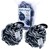 Bath Shower Pouf - Bamboo Charcoal Infused Large Mesh Sponge Loofah Ball 60 g - Body Scrubber - Cleansing and Exfoliating - f