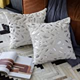 OMMATO Throw Pillows Covers 18 x 18,Set of 2 White Fur with Gold Leaves Soft Throw Pillows for Couch Bed,Accent Home Decorati