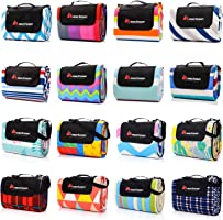 Meteor 200x180cm Large Foldable Waterproof Fleece Picnic Blanket with Carrying Handle Strap and Pocket Outdoor Camping...