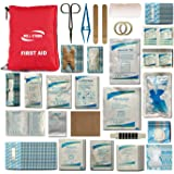 Well-Strong First Aid Kit 300 Pieces - Includes Splints Bandages Gauzes & Instant Cold Compress - for Travel Car Home Office