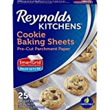 Reynolds Kitchens Cookie Baking Sheets Parchment Paper (SmartGrid, Non-Stick, 25 Sheets, Pack of 4)