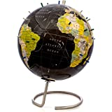"""Bullseye Office - Magnetic World Globe (Lacquer Finish) - 10"""" Black Magnetic Standing World Globe with Magnetic Pins - Perfec"""
