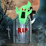 Prsildan Halloween 4 Ft Inflatable Ghost Tombstone, Blow up Headstone Gravestone with Build-in LED Lights Holiday Decorations