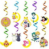 Xqumoi 30Ct Sailor Moon Hanging Swirls Decorations, Sailor Moon Whirls Glitter Foil Ceiling Swirls Streamers, Sailor Moon The