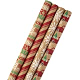 Hallmark Christmas Wrapping Paper Bundle with Cut Lines on Reverse, Kraft (Pack of 4, 88 sq. ft. TTL) Red Trucks, Snowflakes,