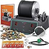 Advanced Professional Rock Tumbler Kit - with Digital 9-day Polishing timer & 3 speed settings - Turn Rough Rocks into Beauti