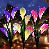 Aloudy Solar Garden Stake Lights, Upgraded 3 Pack Outdoor Waterproof Solar Powered Lights with 12 Calla Lily Flowers, 7 Color