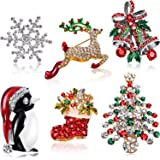 6 Pieces Rhinestone Crystal Christmas Brooch, Christmas Brooch Pins for Xmas Holiday Party Celebration, Snowflake, Penguin, B