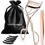 Eyelash Curler Kit (Rose Gold), Premium Lash Curler for Perfect Lashes, Eye Lash Curler with Refill Pads, Tweezers and Satin