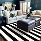 LEEVAN Black and White Strip Area Rug Indoor Outdoor Rug Washable Woven Farmhouse Fabric Porch Front Outdoor Rug for Living R